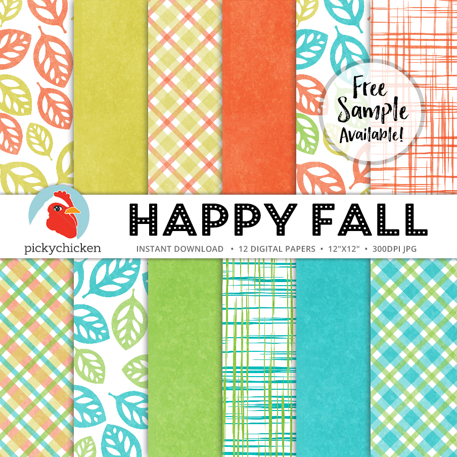 Happy Fall Digital Paper from Picky Chicken