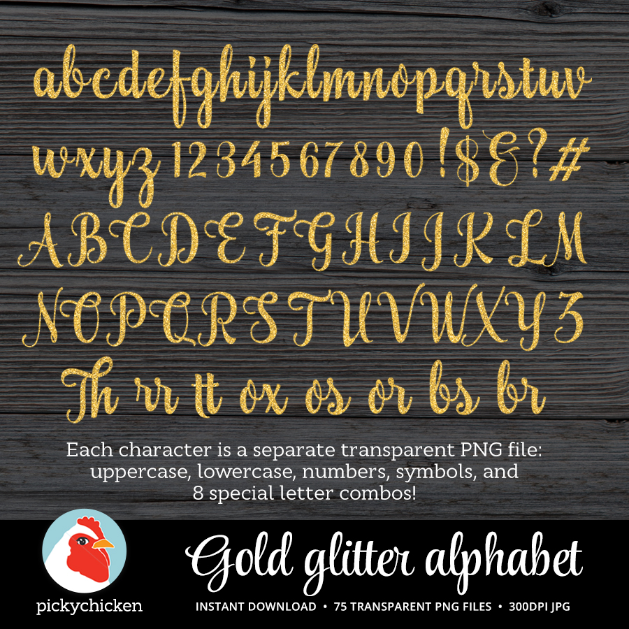 Gold Glitter Alphabet on Etsy
